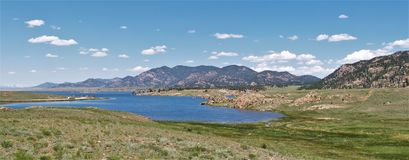 Eleven Mile Reservoir. Located in Eleven Mile Canyon, just south of Lake George, Colorado, the park is popular for camping, fishing, hiking and biking along with stock images