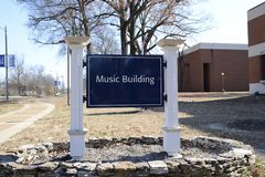 University of Memphis Music Center. Located in the heart of music-rich Memphis, Tennessee, The Rudi E. Scheidt School of Music provides the best of both worlds Royalty Free Stock Photo