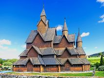 Heddal stavkirke is the largest preserved stave church. Located at Heddal in Notodden municipality, Norway. Built in the early 13th century. The walls of the Royalty Free Stock Image