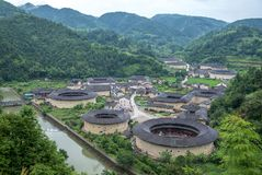 Aerial view of Hekeng Tulou cluster in fujian, china stock image