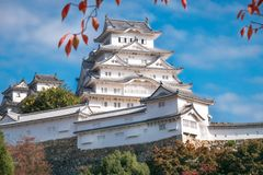 The pristine white exterior view of the White Heron Castle in Himeji, Japan. Located in Himeji, the castle is also known as White Egret or White Heron Castle due stock photography