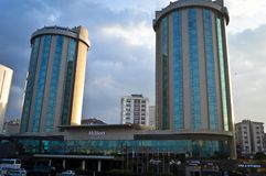 Located on the Istanbul Kozyatagi D100 highway, the Hilton Hotel. Located on the Istanbul Kozyatagi D100 Highway, Hilton Hotel, two buildings of glass. January stock photography