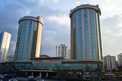 Located on the Istanbul Kozyatagi D100 highway, the Hilton Hotel. Located on the Istanbul Kozyatagi D100 Highway, Hilton Hotel, two buildings of glass. January stock images