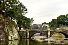 2018 New photo, Moat and bridge of Imperial Palace Garden in Japan Tokyo stock image