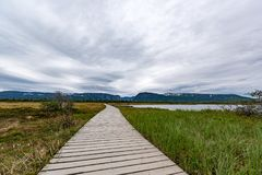 Boardwalk to Western Brook Pond in Gros Morne National Park, Newfoundland. Located just outside of Rocky Harbour, Newfoundland, Gros Morne National Park provides Royalty Free Stock Photo