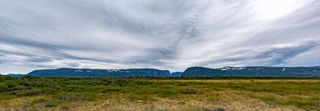Panorama of Western Brook Pond in Gros Morne National Park, Newfoundland. Located just outside of Rocky Harbour, Newfoundland, Gros Morne National Park provides Stock Images