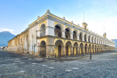Palacio de los Capitans Antigua, Guatemala. Located in the main square of Antigua's old town.  Corner perspective with dual vansishing points. Baroque colonial Stock Photo