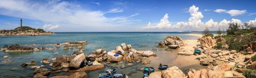 Panorama on Ke Ga Lighthouse, Ham Thuan Nam Township, Binh Thuan Province, Vietnam. Located 300 meters offshore central Binh Thuan Province's Ham Thuan royalty free stock images