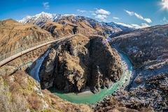 Natural landscape of skippers canyon gorge in New Zealand royalty free stock photo