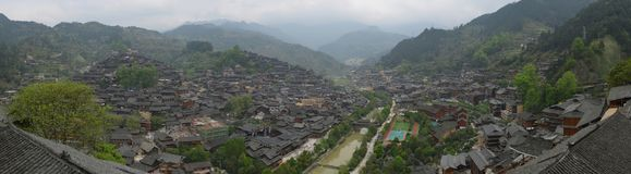 The panorama of Xijiang Qianhu Miao Village Royalty Free Stock Images