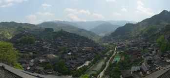 The panorama of Xijiang Qianhu Miao Village. Located on the north side of Leigong Hill, Xijiang Qianhu Miao Village is about 35 km 22 miles away from Kaili city stock image