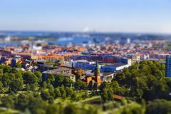 Aerial view on a sunny day in Aalborg, Denmark stock images