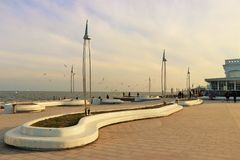 Panoramic view of a touristic place next to the black sea. Modern location for walk and have fun. stock photography