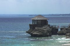 A Little House at a Rock, Kubu Beach, Jimbaran, Bali stock photography