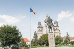 The statue of Avram Iancu. Located in the Rose Square, in front of the Great Cathedral, Avram Iancu`s statue dominates the landscape reminding us of the Royalty Free Stock Image