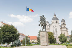 The statue of Avram Iancu. Located in the Rose Square, in front of the Great Cathedral, Avram Iancu`s statue dominates the landscape reminding us of the Stock Photography