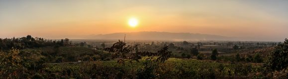 Panoramic sunset on the countryside near Inle Lake from the Red Mountain Winery, Inle Lake, Shan State, Myanmar Royalty Free Stock Image