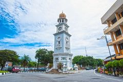 QUEEN VICTORIA MEMORIAL CLOCK TOWER - PENANG. Located south of Fort Cornwallis, the Queen Victoria Memorial Clock Tower was commisssioned in 1897 to commemorate royalty free stock photo