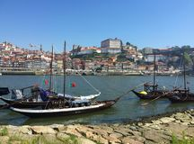 Duoro River Porto Portugal view from de Gaia side stock image
