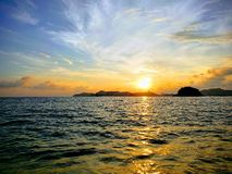 Tropical landscape of Acapulco bay at sunset. Located in the state of Guerrero, city with beach and tropical climate for vacation, saltwater Sea of the Pacific stock photo