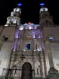 Exterior view of a Catholic church in San Juan de los Lagos, Mexico al night. Located in the State of Jalisco, religion and culture, history and tradition stock image