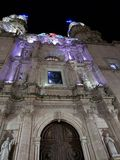 Exterior view of a Catholic church in San Juan de los Lagos, Mexico al night. Located in the State of Jalisco, religion and culture, history and tradition stock photos