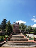 Exterior view of the catholic church the Calvary of the city of Metepec, in Mexico, on a sunny day. Located in the state of Mexico, travel and tourism stock image