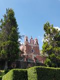 Exterior view of the catholic church the Calvary of the city of Metepec, in Mexico, on a sunny day. Located in the state of Mexico, travel and tourism royalty free stock images