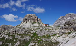Locatelli Refuge in the Italian Dolomites. Stock Image