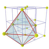 Locating Octahedral voids. Other names include half cubic honeycomb, half cubic cellulation, or tetragonal disphenoidal cellulation. John Horton Conway calls Royalty Free Stock Photography