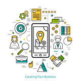 Locating Your Business - LineArt. Vector Locating Your Business Round Concept in Thin Line Art Style. Smart phone with location pointer in the city and business Royalty Free Stock Images