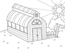 The location of agriculture. Hangar for food for animals. Barn. Vector of a book coloring book, a childrens cartoon. The location of agriculture. Hangar for food vector illustration
