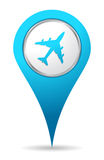 Location airplane icon. Blue location airplane icon for maps royalty free illustration