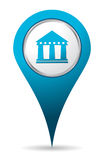 Location bank icon. Blue location bank icon 3d effect Stock Images
