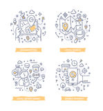 Location-based Marketing Doodle Illustrations. Doodle illustrations of geo targeting, location-based search and advertising using global-positioning technology Royalty Free Stock Photography