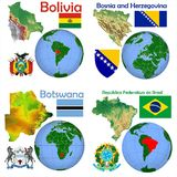 Location Bolivia, Bosnia and Herzegovina,Bostswana,Brazil Stock Photo