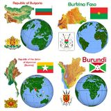 Location Bulgaria,Burkina Faso,Myanmar,Burma,Burundi. Globe location countries Bulgaria,Burkina Faso,Myanmar,Burma,Burund Stock Images