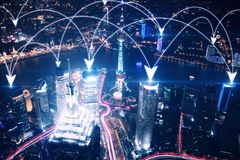 Location concept. Beautiful illuminated night city with arrow network. Location concept Stock Images
