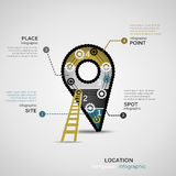 Location. Concept infographic template with geared sign Stock Image