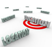 Location 3d Words Best Place Live Work Real Estate. Location words with one on a red target to illustrate finding and searching for the best place to live, work Royalty Free Stock Images