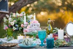 Location decorated table. Location Table decorated with flowers, succulents, cake and berries Royalty Free Stock Photos