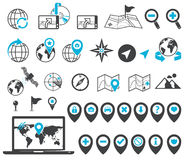 Location and destination icons Royalty Free Stock Image