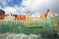Location famous Market Square in Wroclaw, Poland, Europe. Historical capital of Silesia. Beauty world.  Royalty Free Stock Photos
