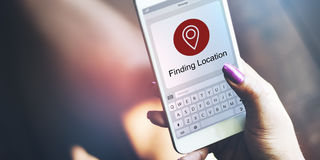 Location Finder Map Application Concept. People Finding Location Map Application Royalty Free Stock Photography