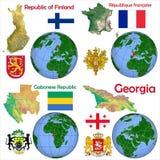 Location Finland,France,Gabon,Georgia. Globe location countries Finland,France,Gabon,Georgia Royalty Free Stock Photo