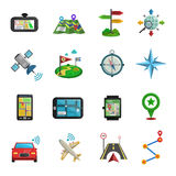 Location Flat Icon Set. Car and plane location maps compasses and gps navigation flat color icon set  vector illustration Royalty Free Stock Photos