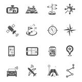Location Flat Icon Set. Location and navigation maps compasses and gps routes and landmarks flat silhouette icon set  vector illustration Royalty Free Stock Images