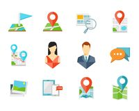 Location flat icons Stock Photo