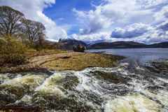 The beautiful view at Corpach near Fort William in the Highlands of Scotland. This location has wonderful views of snow-capped Ben Nevis, Britain`s highest peak Royalty Free Stock Image