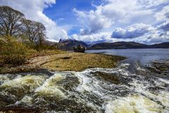 The beautiful view at Corpach near Fort William in the Highlands of Scotland. This location has wonderful views of snow-capped Ben Nevis, Britain`s highest peak royalty free stock images